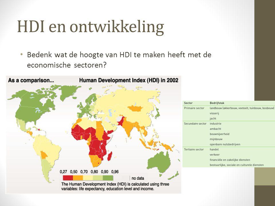 HDI en ontwikkeling Bedenk wat de hoogte van HDI te maken heeft met de economische sectoren?
