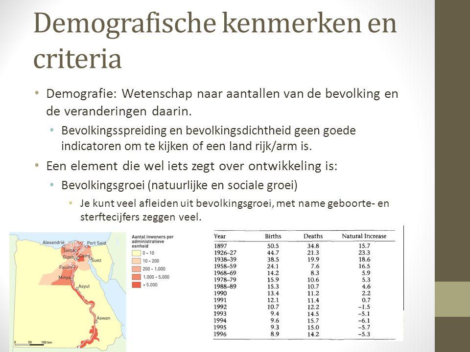 Demografische kenmerken en criteria Demografie: Wetenschap naar aantallen van de bevolking en de veranderingen daarin. Bevolkingsspreiding en bevolkin