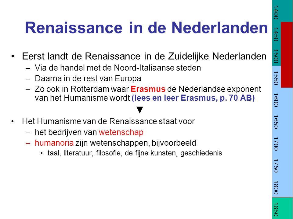 Renaissance in de Nederlanden Eerst landt de Renaissance in de Zuidelijke Nederlanden –Via de handel met de Noord-Italiaanse steden –Daarna in de rest