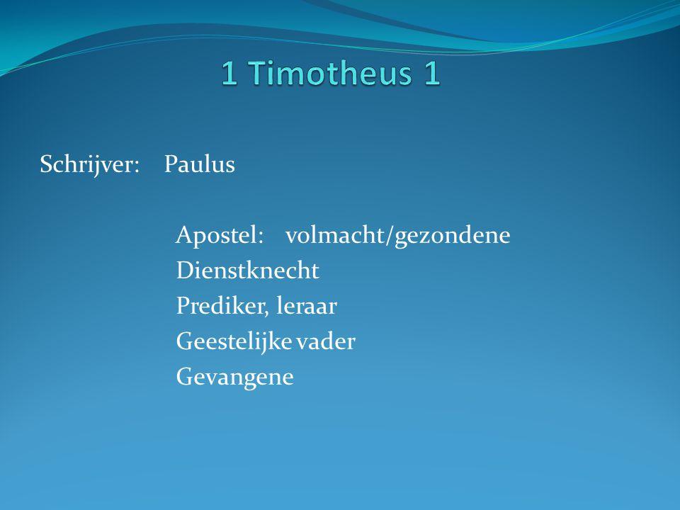 Schrijver: Paulus Apostel: volmacht/gezondene Dienstknecht Prediker, leraar Geestelijke vader Gevangene
