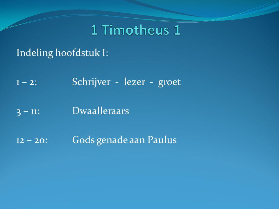 Indeling hoofdstuk I: 1 – 2: Schrijver - lezer - groet 3 – 11:Dwaalleraars 12 – 20:Gods genade aan Paulus