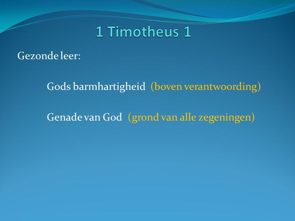 Gezonde leer: Gods barmhartigheid (boven verantwoording) Genade van God (grond van alle zegeningen)