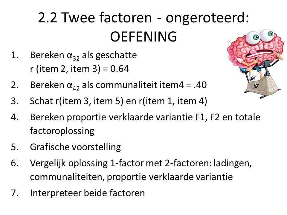 2.2 Twee factoren - ongeroteerd: OEFENING 1.Bereken α 32 als geschatte r (item 2, item 3) = 0.64 2.Bereken α 42 als communaliteit item4 =.40 3.Schat r