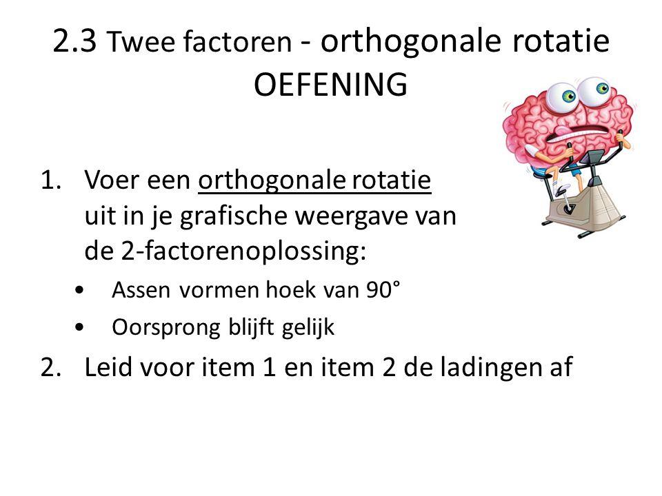 2.3 Twee factoren - orthogonale rotatie OEFENING 1.Voer een orthogonale rotatie uit in je grafische weergave van de 2-factorenoplossing: Assen vormen