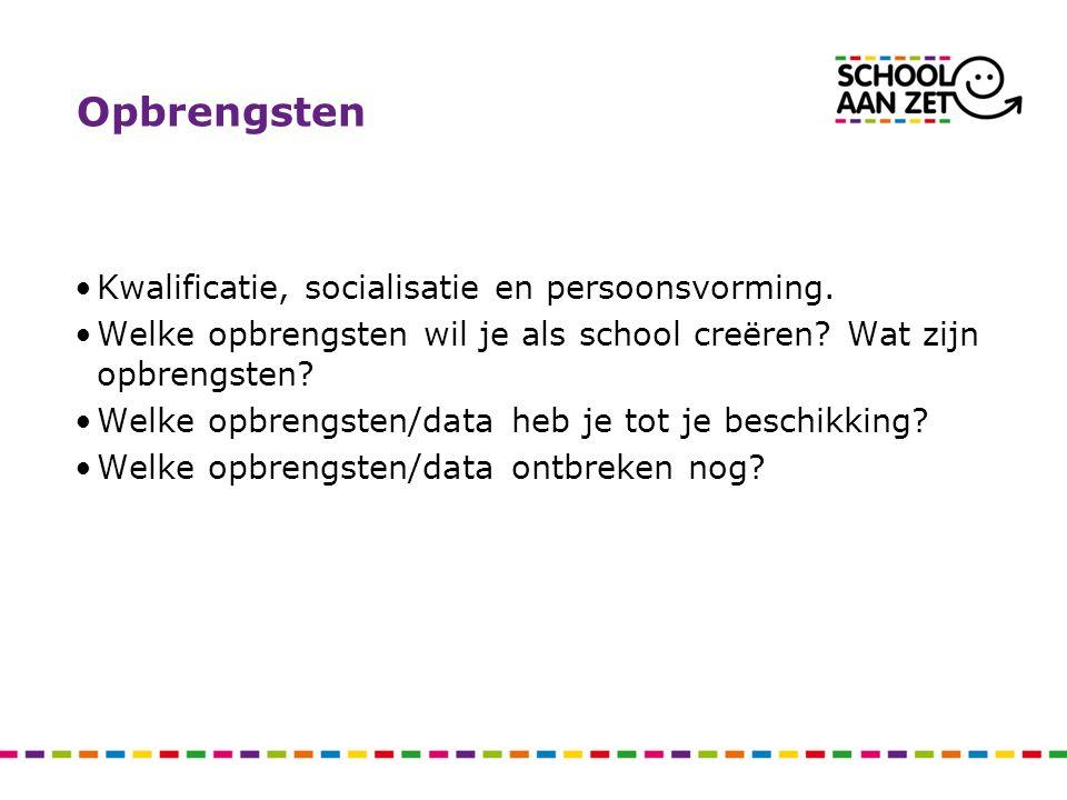 Opbrengsten Kwalificatie, socialisatie en persoonsvorming. Welke opbrengsten wil je als school creëren? Wat zijn opbrengsten? Welke opbrengsten/data h