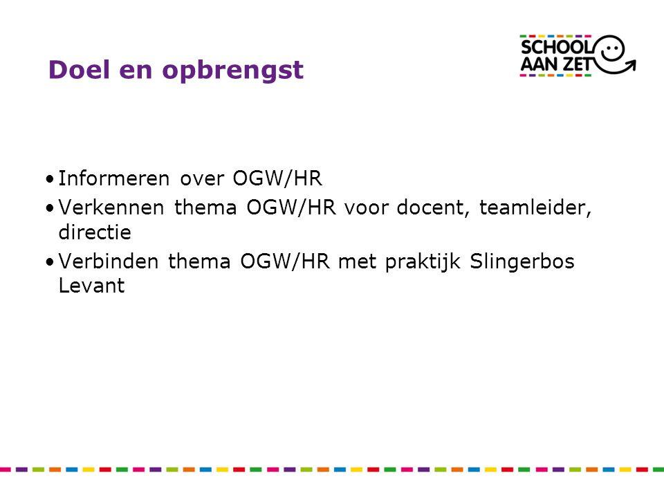 Doel en opbrengst Informeren over OGW/HR Verkennen thema OGW/HR voor docent, teamleider, directie Verbinden thema OGW/HR met praktijk Slingerbos Levan