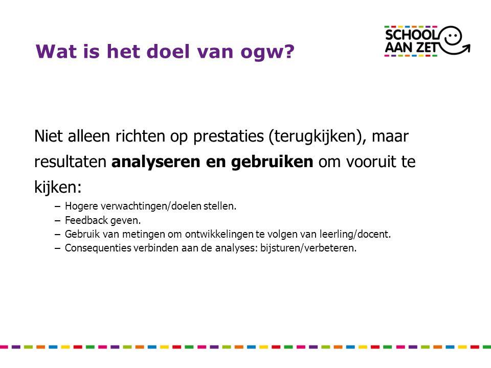 Doel II Hierdoor bijdrage leveren aan school-ontwikkeling en verantwoording: –Gerealiseerde leerwinst inzichtelijk maken.