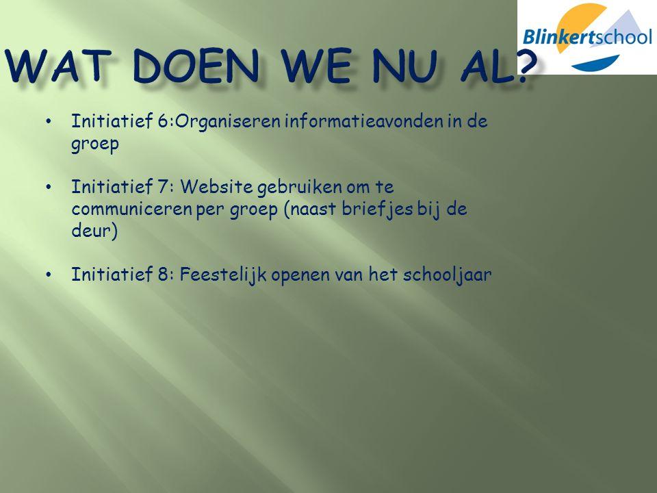 Initiatief 6:Organiseren informatieavonden in de groep Initiatief 7: Website gebruiken om te communiceren per groep (naast briefjes bij de deur) Initi