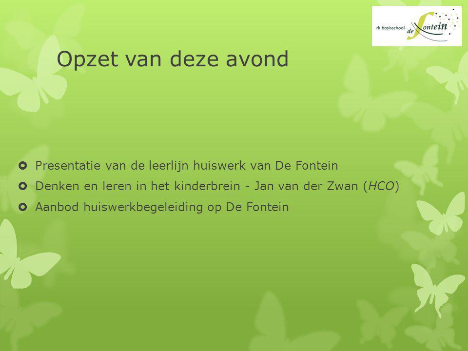 Opzet van deze avond  Presentatie van de leerlijn huiswerk van De Fontein  Denken en leren in het kinderbrein - Jan van der Zwan (HCO)  Aanbod huiswerkbegeleiding op De Fontein