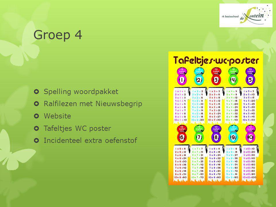Groep 4  Spelling woordpakket  Ralfilezen met Nieuwsbegrip  Website  Tafeltjes WC poster  Incidenteel extra oefenstof