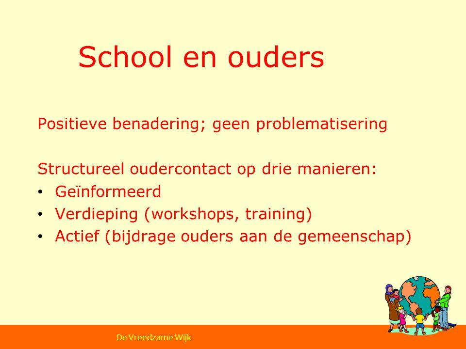 School en ouders Positieve benadering; geen problematisering Structureel oudercontact op drie manieren: Geïnformeerd Verdieping (workshops, training) Actief (bijdrage ouders aan de gemeenschap) De Vreedzame School De Vreedzame Wijk