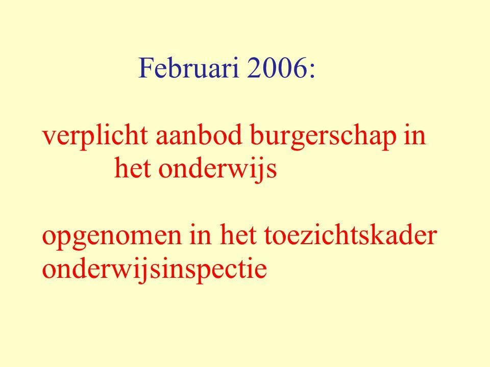 Februari 2006: verplicht aanbod burgerschap in het onderwijs opgenomen in het toezichtskader onderwijsinspectie