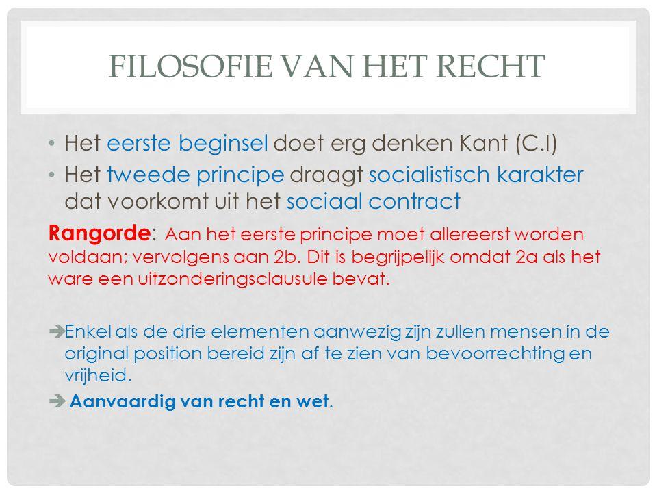 FILOSOFIE VAN HET RECHT Het eerste beginsel doet erg denken Kant (C.I) Het tweede principe draagt socialistisch karakter dat voorkomt uit het sociaal