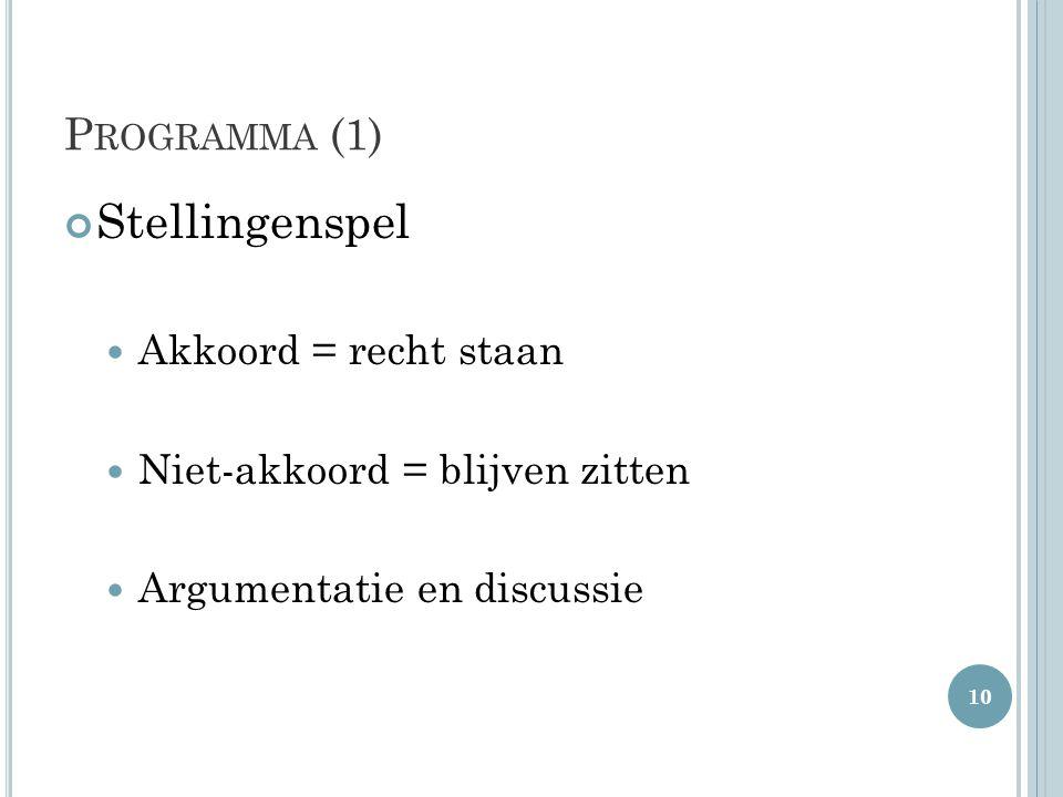 P ROGRAMMA (1) Stellingenspel Akkoord = recht staan Niet-akkoord = blijven zitten Argumentatie en discussie 10