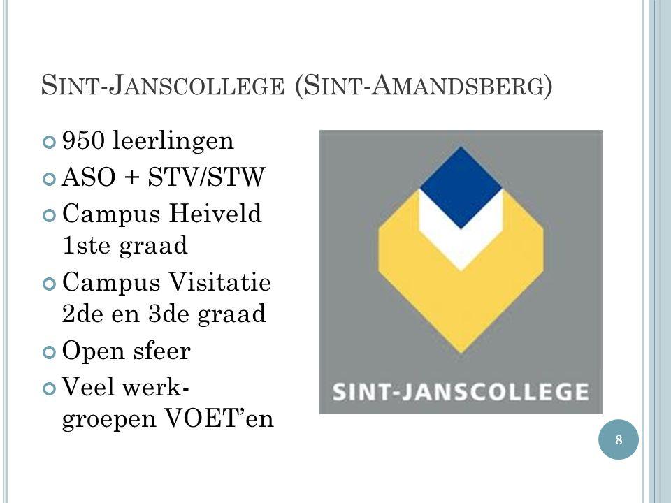 S INT -J ANSCOLLEGE (S INT -A MANDSBERG ) 950 leerlingen ASO + STV/STW Campus Heiveld 1ste graad Campus Visitatie 2de en 3de graad Open sfeer Veel wer