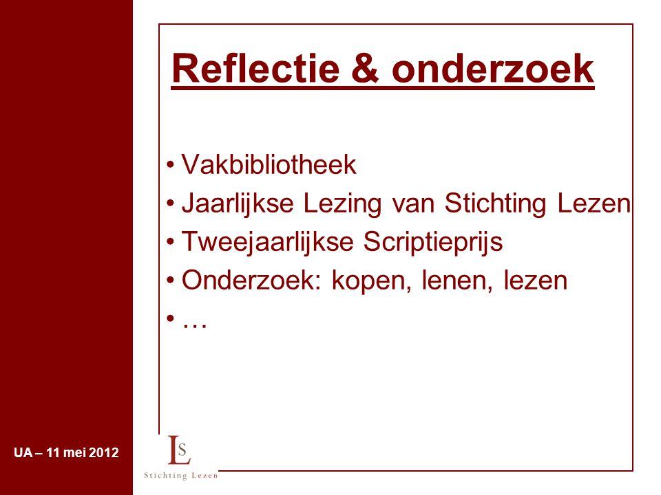 Reflectie & onderzoek Vakbibliotheek Jaarlijkse Lezing van Stichting Lezen Tweejaarlijkse Scriptieprijs Onderzoek: kopen, lenen, lezen … UA – 11 mei 2
