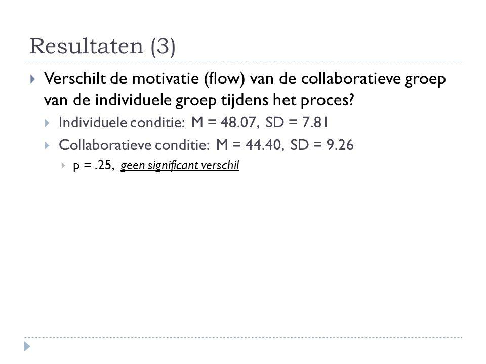 Resultaten (3)  Verschilt de motivatie (flow) van de collaboratieve groep van de individuele groep tijdens het proces?  Individuele conditie: M = 48