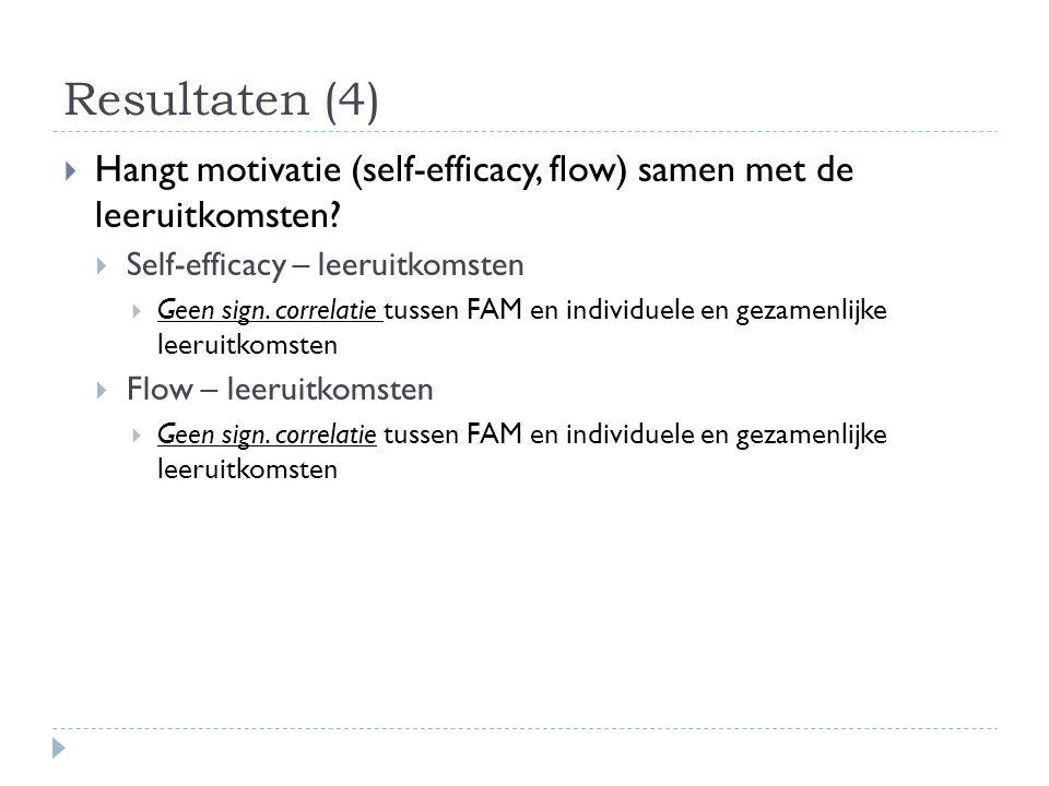 Resultaten (4)  Hangt motivatie (self-efficacy, flow) samen met de leeruitkomsten?  Self-efficacy – leeruitkomsten  Geen sign. correlatie tussen FA