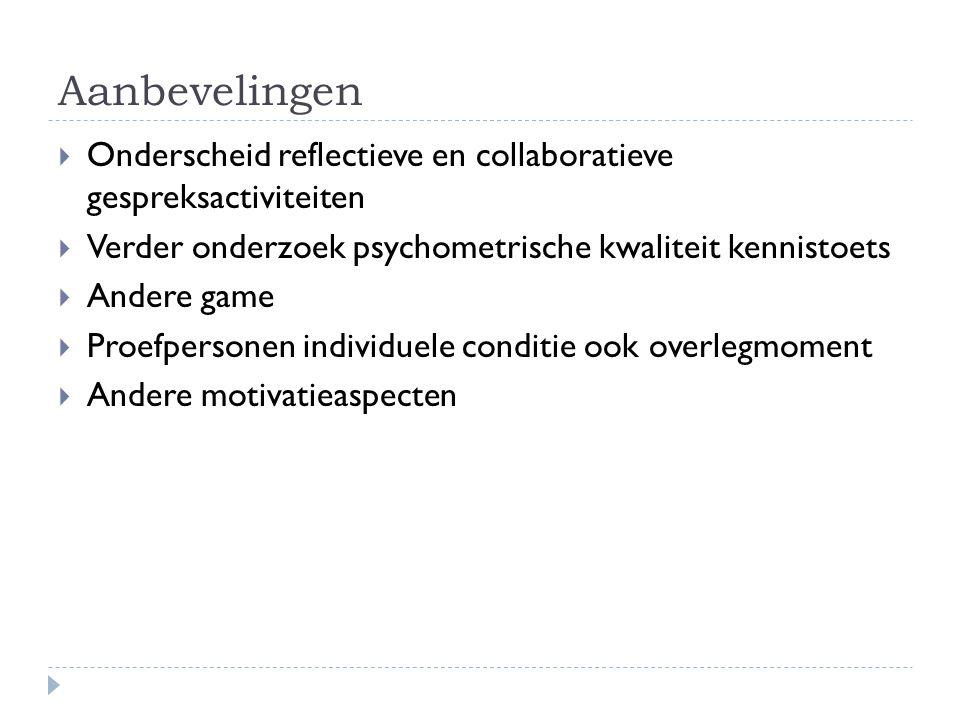 Aanbevelingen  Onderscheid reflectieve en collaboratieve gespreksactiviteiten  Verder onderzoek psychometrische kwaliteit kennistoets  Andere game