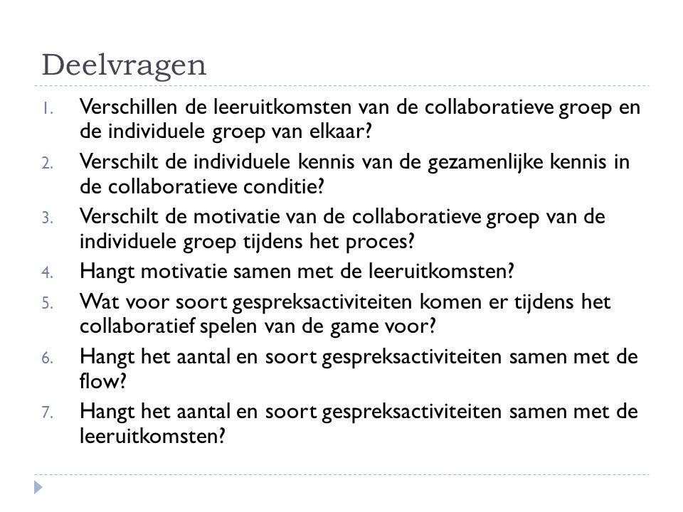 Deelvragen 1. Verschillen de leeruitkomsten van de collaboratieve groep en de individuele groep van elkaar? 2. Verschilt de individuele kennis van de