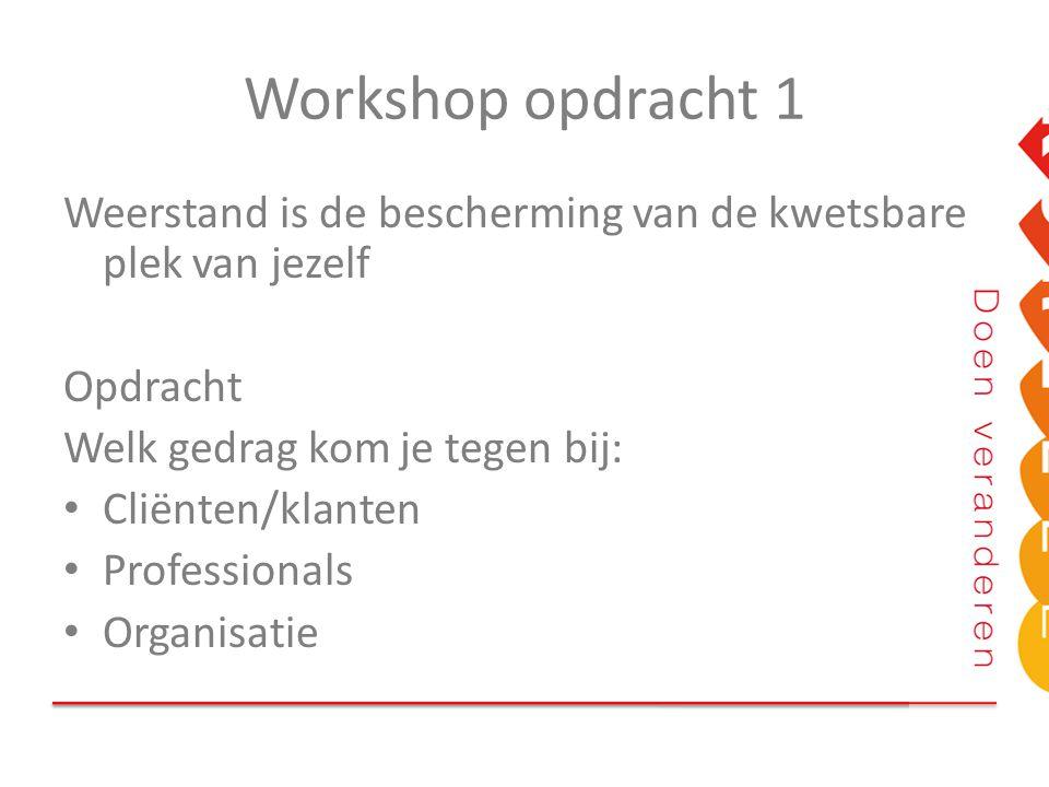 Workshop opdracht 1 Weerstand is de bescherming van de kwetsbare plek van jezelf Opdracht Welk gedrag kom je tegen bij: Cliënten/klanten Professionals