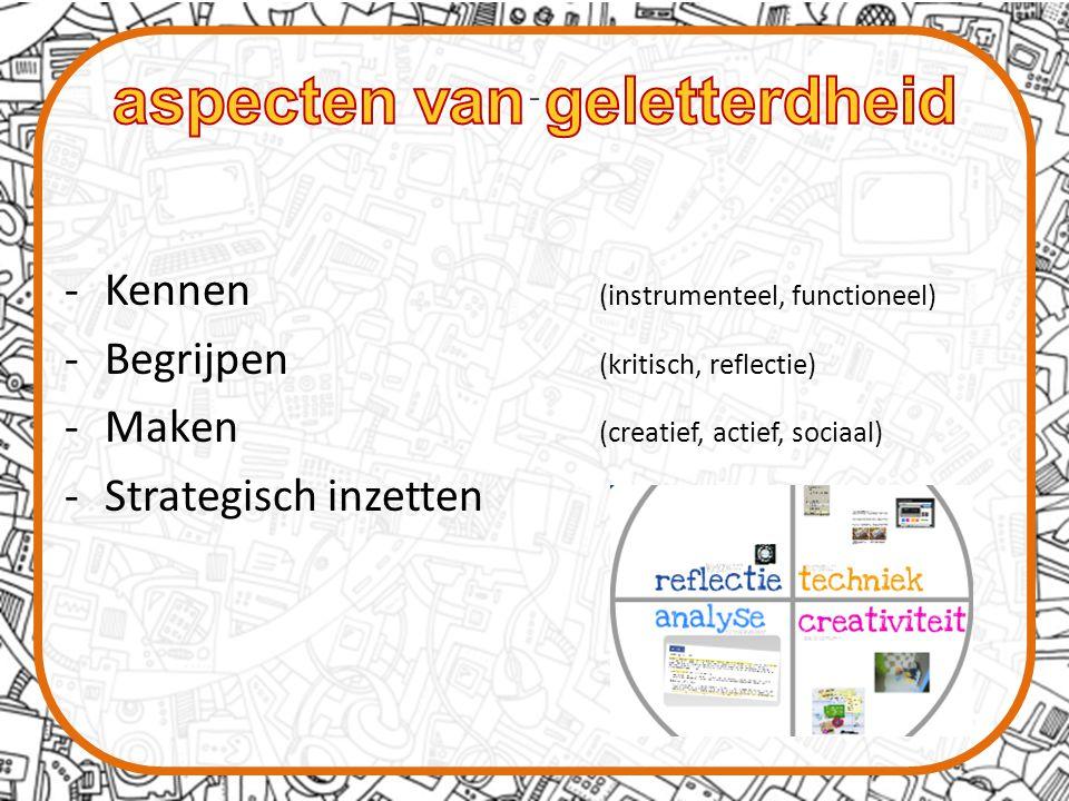 -Kennen (instrumenteel, functioneel) -Begrijpen (kritisch, reflectie) -Maken (creatief, actief, sociaal) -Strategisch inzetten