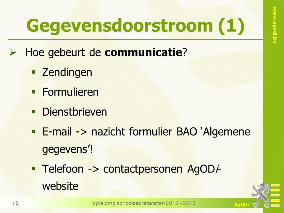www.agodi.be AgODi opleiding schoolsecretariaten 2012 - 2013 12 Gegevensdoorstroom (1)  Hoe gebeurt de communicatie.