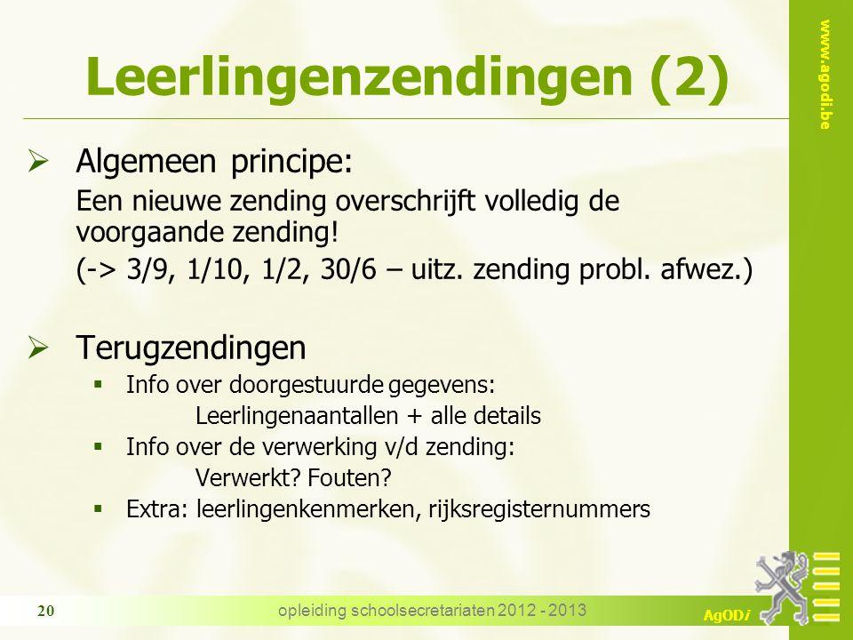 www.agodi.be AgODi Leerlingenzendingen (2)  Algemeen principe: Een nieuwe zending overschrijft volledig de voorgaande zending.
