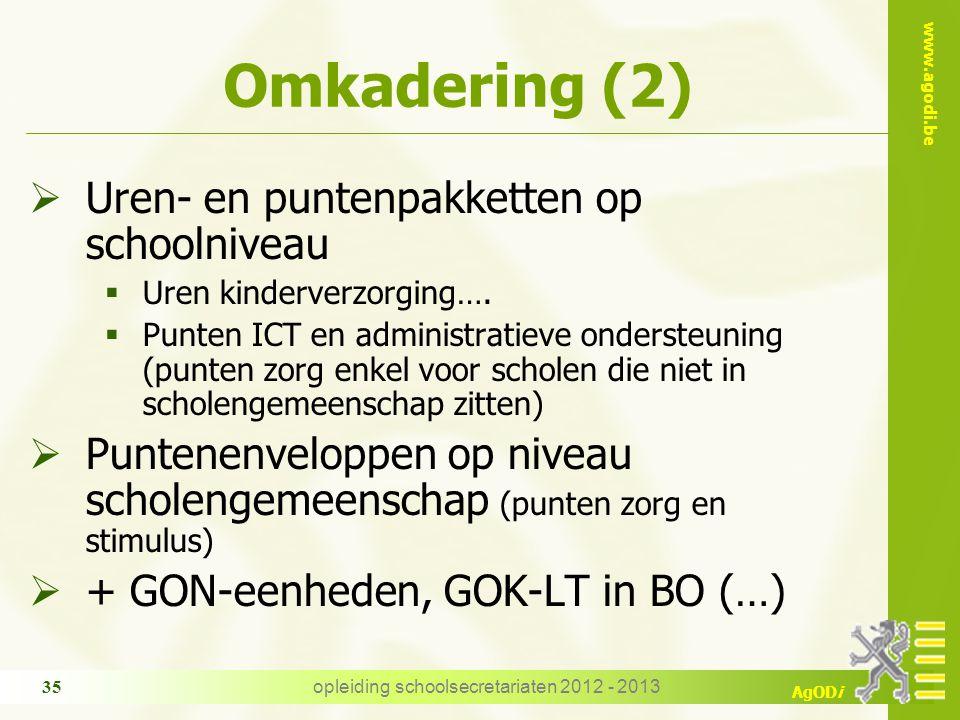 www.agodi.be AgODi Omkadering (2)  Uren- en puntenpakketten op schoolniveau  Uren kinderverzorging….