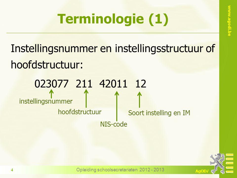 www.agodi.be AgODi Terminologie (1) Instellingsnummer en instellingsstructuur of hoofdstructuur: 023077 211 42011 12 instellingsnummer hoofdstructuur NIS-code Soort instelling en IM 4Opleiding schoolsecretariaten 2012 - 2013