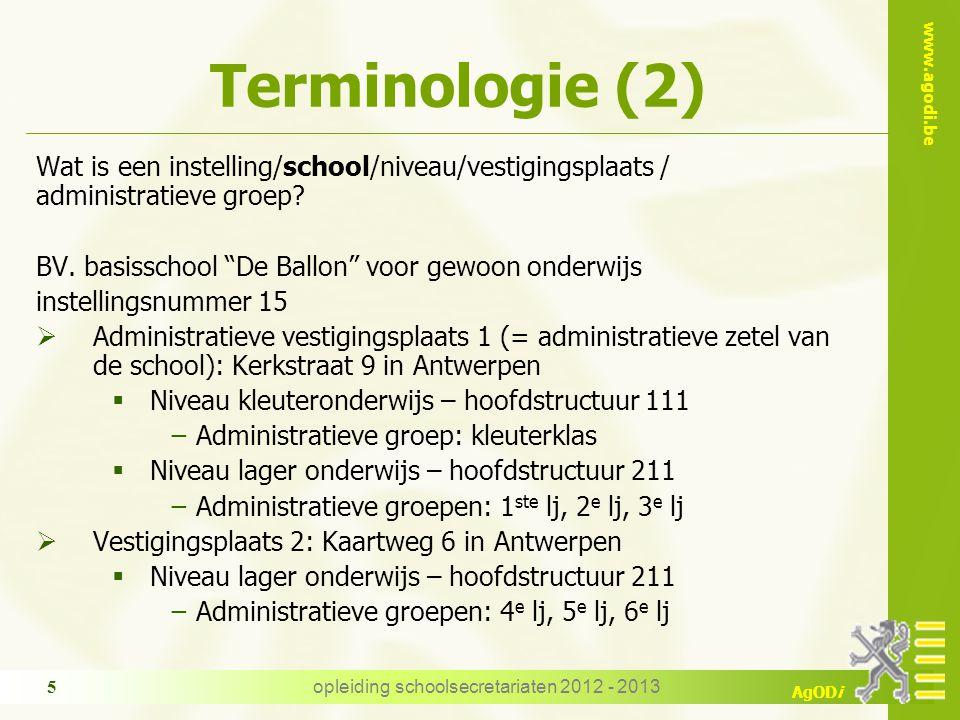 www.agodi.be AgODi Terminologie (2) Wat is een instelling/school/niveau/vestigingsplaats / administratieve groep.