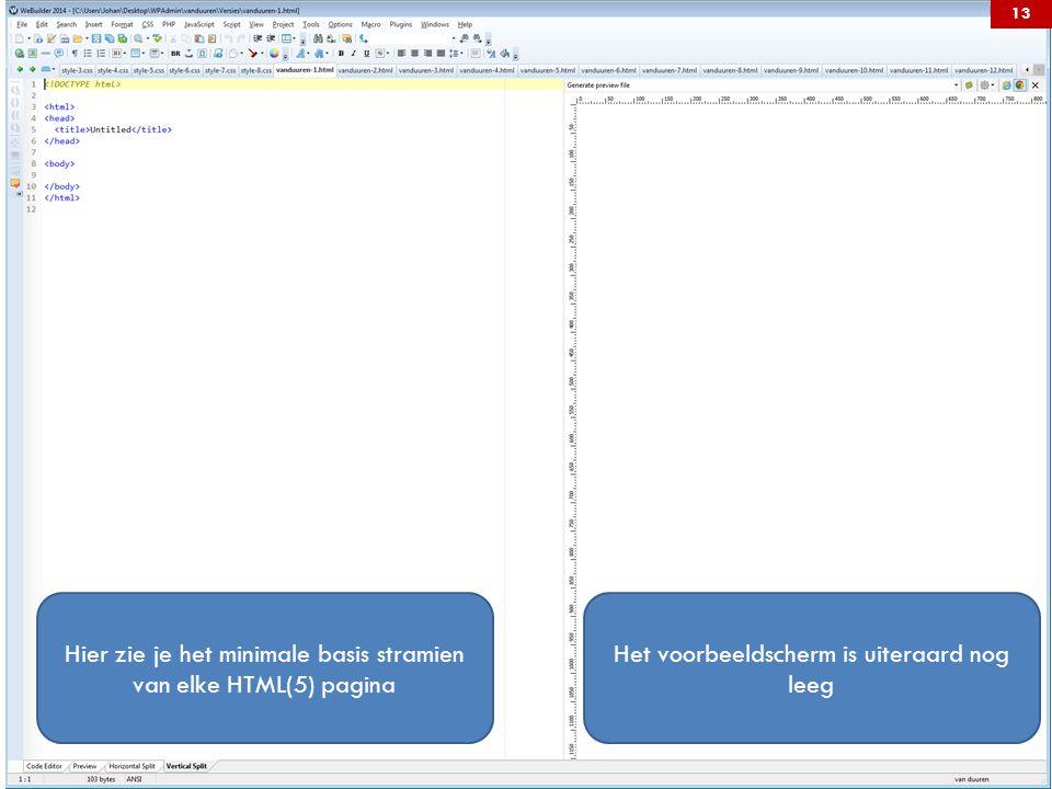 Hier zie je het minimale basis stramien van elke HTML(5) pagina Het voorbeeldscherm is uiteraard nog leeg 13