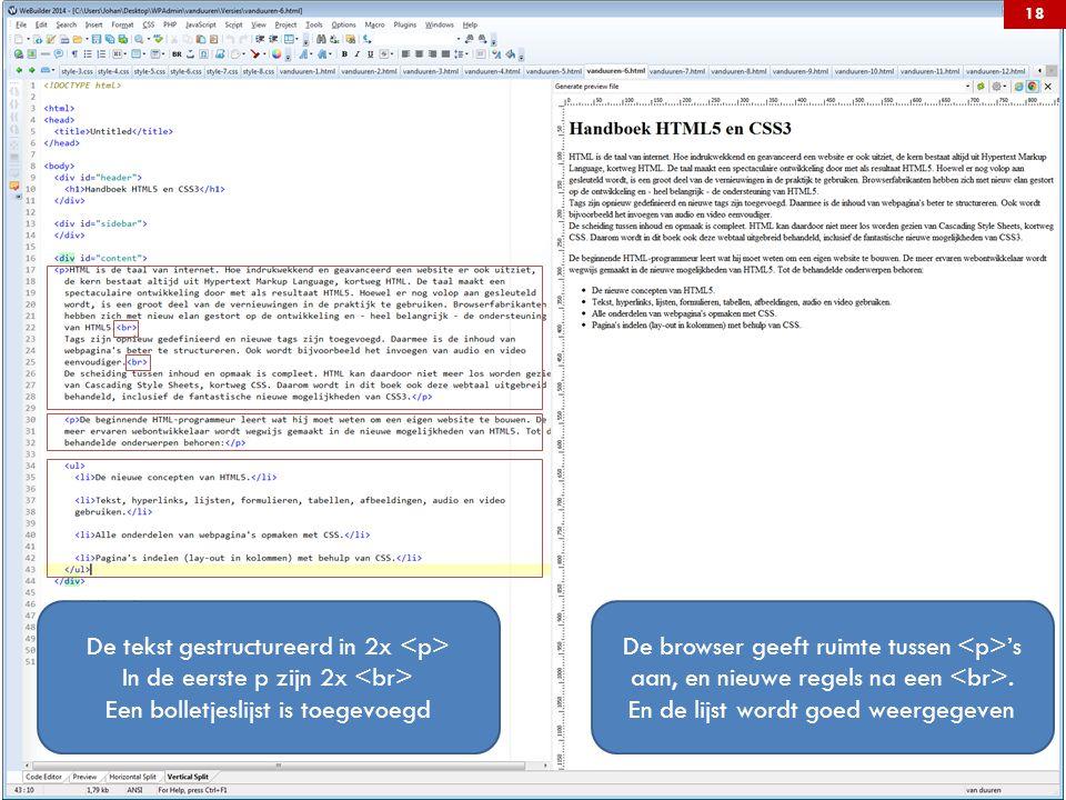 De tekst gestructureerd in 2x In de eerste p zijn 2x Een bolletjeslijst is toegevoegd De browser geeft ruimte tussen 's aan, en nieuwe regels na een.