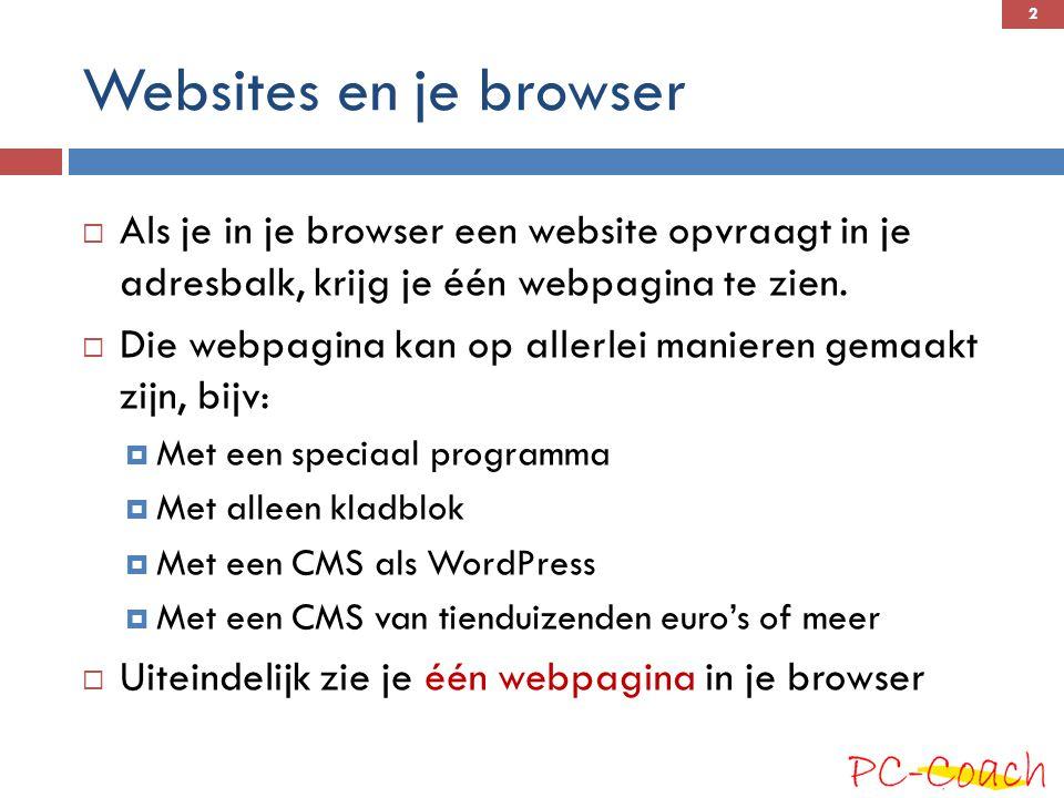 Een webpagina  Ongeacht hoe de pagina gemaakt is, of hoe die heet, het resultaat dat je browser geleverd krijgt, is altijd een HTML-pagina  Een HTML-pagina is altijd een puur tekstbestand, met de extensie.htm of.html,  Het is een voor mensen leesbaar bestand.