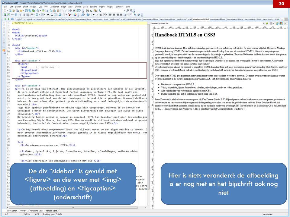 De div sidebar is gevuld met en die weer met (afbeelding) en (onderschrift) Hier is niets veranderd: de afbeelding is er nog niet en het bijschrift ook nog niet 20