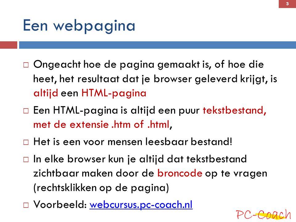 HTML-pagina  Een HTML pagina is geschreven in HTML  HyperText Markup Language  Het gaat om een taal die hypertext mogelijk maakt, d.w.z.