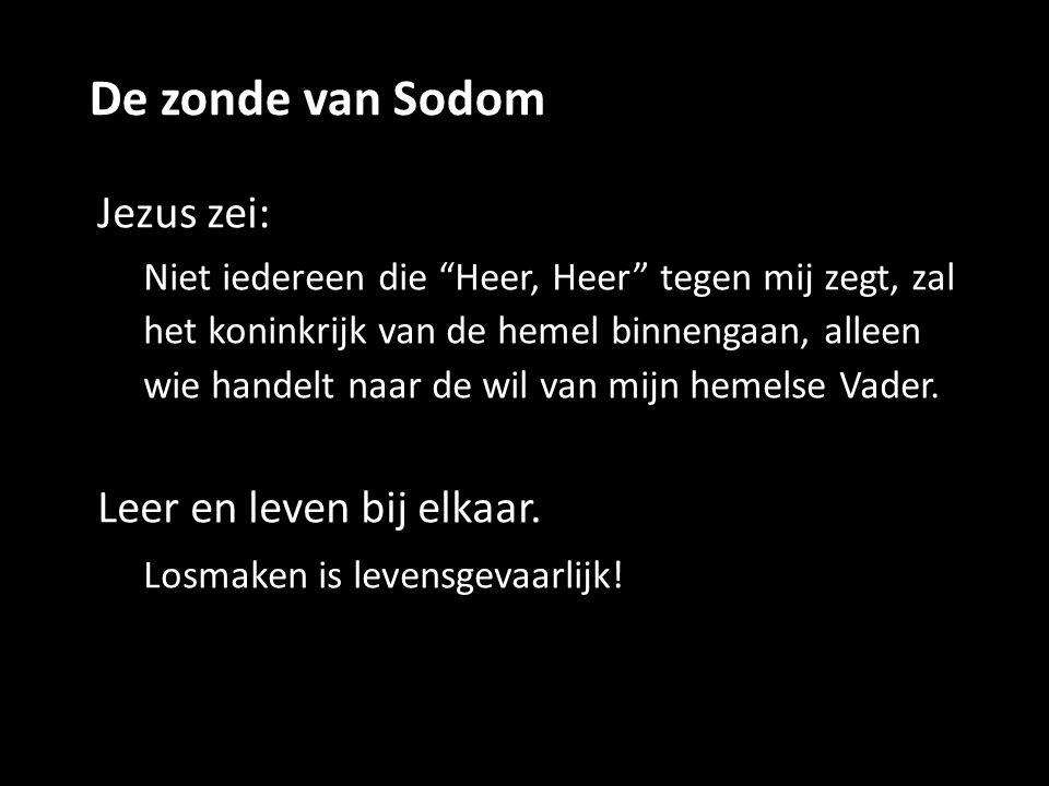 """De zonde van Sodom Jezus zei: Niet iedereen die """"Heer, Heer"""" tegen mij zegt, zal het koninkrijk van de hemel binnengaan, alleen wie handelt naar de wi"""