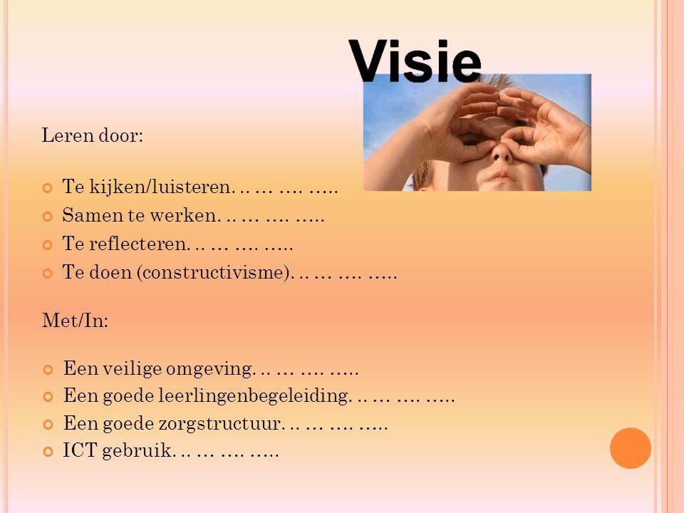 Leren door: Te kijken/luisteren... … …. ….. Samen te werken... … …. ….. Te reflecteren... … …. ….. Te doen (constructivisme)... … …. ….. Met/In: Een v