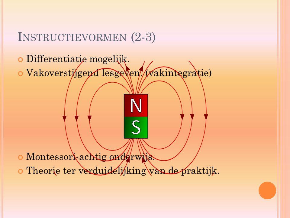 I NSTRUCTIEVORMEN (2-3) Differentiatie mogelijk. Vakoverstijgend lesgeven. (vakintegratie) Montessori-achtig onderwijs. Theorie ter verduidelijking va