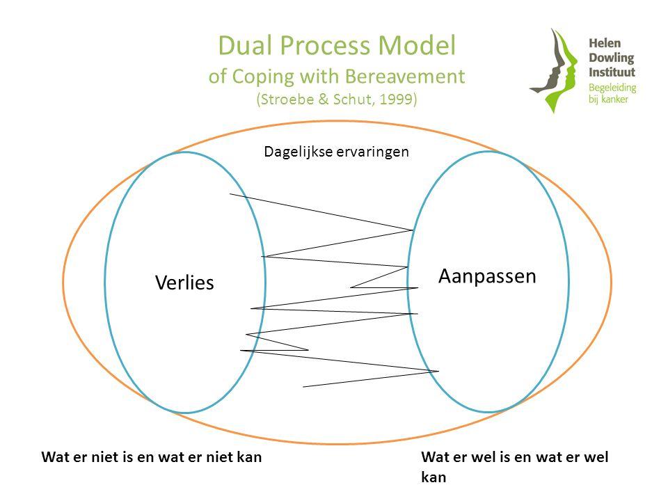 Dual Process Model of Coping with Bereavement (Stroebe & Schut, 1999) Dagelijkse ervaringen Verlies Aanpassen Wat er niet is en wat er niet kanWat er