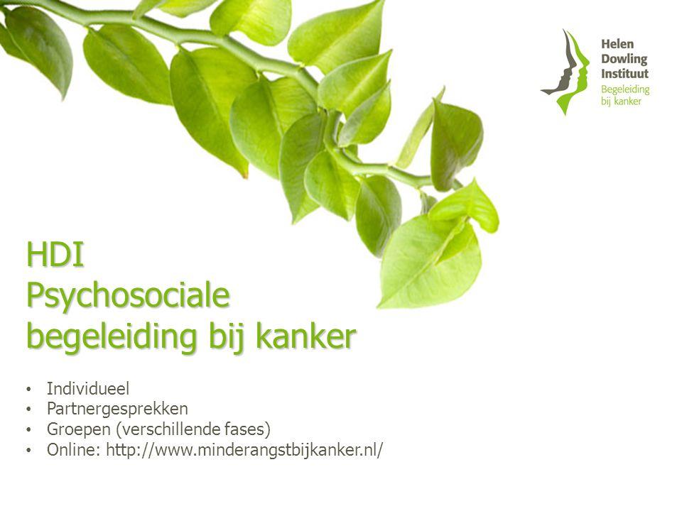 HDIPsychosociale begeleiding bij kanker Individueel Partnergesprekken Groepen (verschillende fases) Online: http://www.minderangstbijkanker.nl/