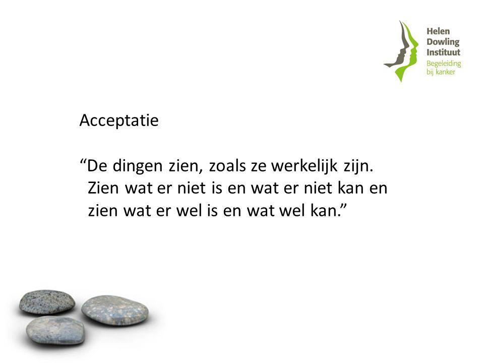 """Acceptatie """"De dingen zien, zoals ze werkelijk zijn. Zien wat er niet is en wat er niet kan en zien wat er wel is en wat wel kan."""""""