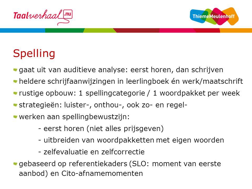 Spelling gaat uit van auditieve analyse: eerst horen, dan schrijven heldere schrijfaanwijzingen in leerlingboek én werk/maatschrift rustige opbouw: 1