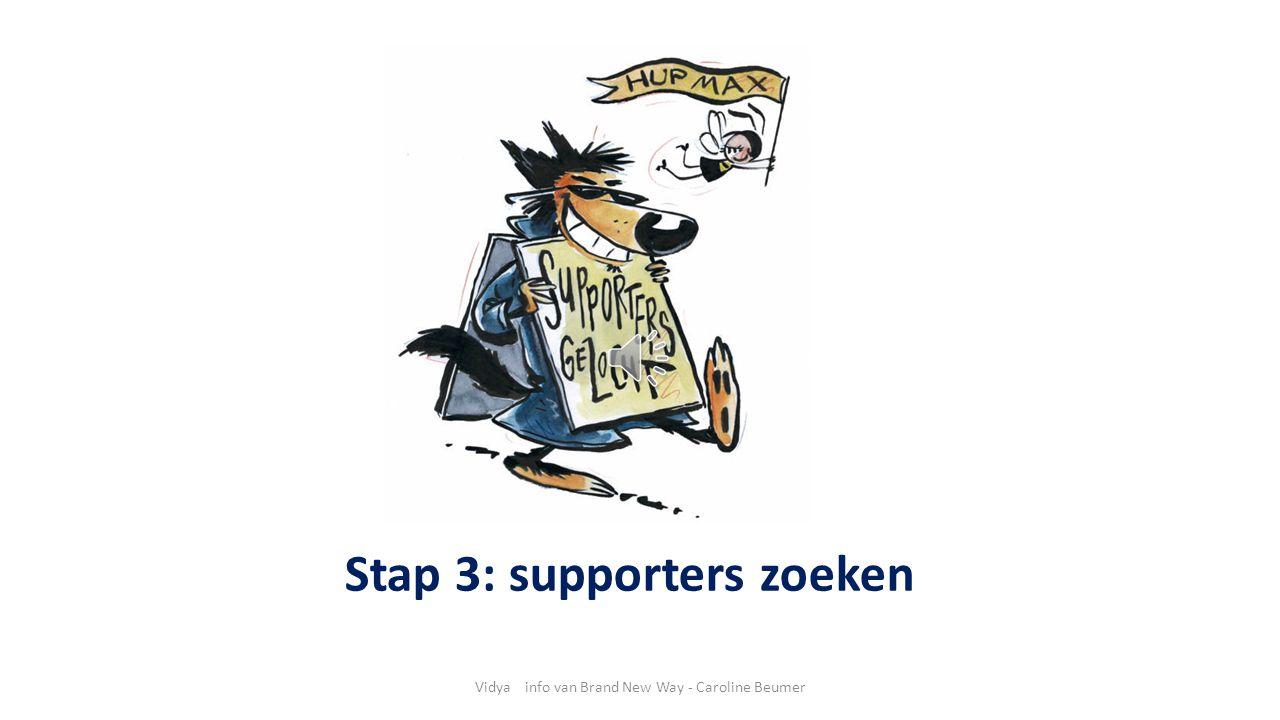 Vidya info van Brand New Way - Caroline Beumer Stap 3: supporters zoeken