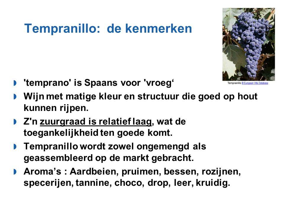 Tempranillo: de kenmerken  'temprano' is Spaans voor 'vroeg'  Wijn met matige kleur en structuur die goed op hout kunnen rijpen.  Z'n zuurgraad is