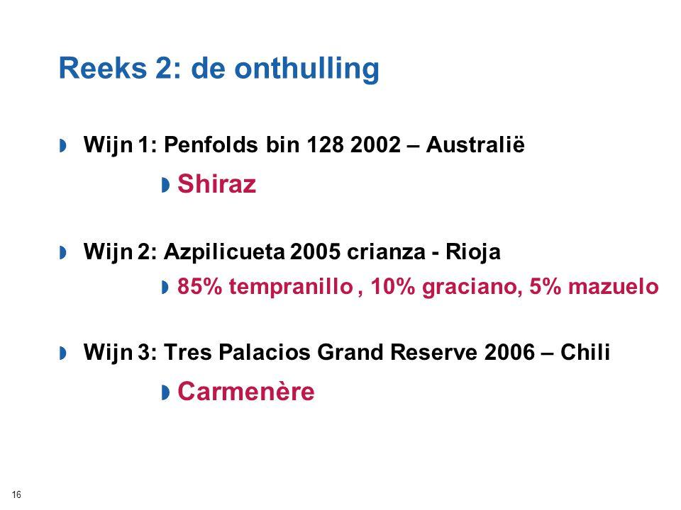 Reeks 2: de onthulling  Wijn 1: Penfolds bin 128 2002 – Australië  Shiraz  Wijn 2: Azpilicueta 2005 crianza - Rioja  85% tempranillo, 10% graciano
