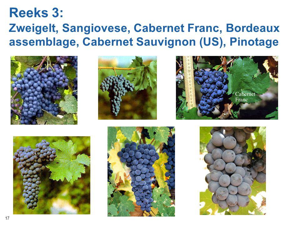 Reeks 3: Zweigelt, Sangiovese, Cabernet Franc, Bordeaux assemblage, Cabernet Sauvignon (US), Pinotage 17