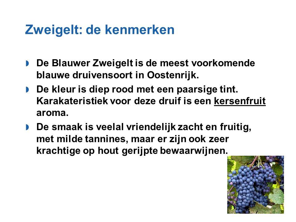 Zweigelt: de kenmerken  De Blauwer Zweigelt is de meest voorkomende blauwe druivensoort in Oostenrijk.  De kleur is diep rood met een paarsige tint.