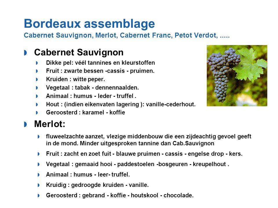 Bordeaux assemblage Cabernet Sauvignon, Merlot, Cabernet Franc, Petot Verdot,.....  Cabernet Sauvignon  Dikke pel: véél tannines en kleurstoffen  F