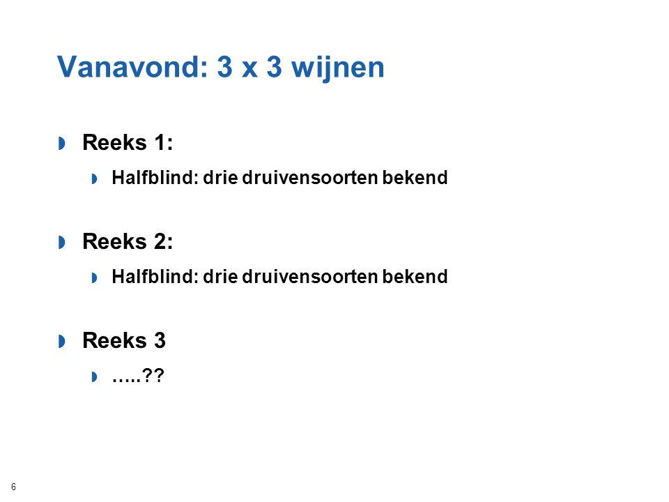 Vanavond: 3 x 3 wijnen  Reeks 1:  Halfblind: drie druivensoorten bekend  Reeks 2:  Halfblind: drie druivensoorten bekend  Reeks 3  …..?? 6